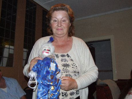 Anne Muldowney, Chairperson of IMPERO, with the marionette she won in the raffle at last night's function in The Strand Hotel, Omeath.