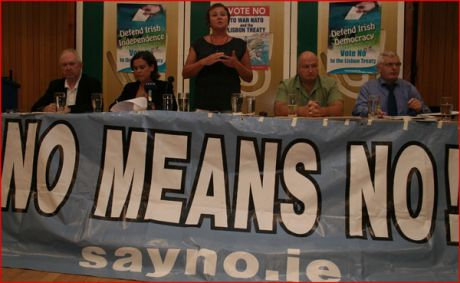 Cllr. Bríd Smyth (PBP) launching the CAEUC No to Lisbon campaign at Liberty Hall, flanked by l-r: Jimmy Kelly (Reg. Sec. UNITE) - Mary Lou McDonald TD (SF) - Bob Crowe (Gen. Sec. RM&TU) - Joe Higgins MEP (SP)