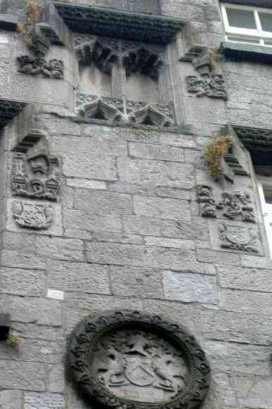 Crests and decorative stonework on Lynch's Castle, Galway