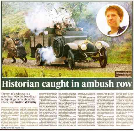 'HIstorian Caught in Ambush Row' Justine McCarthy Sunday Times 26 August 2012