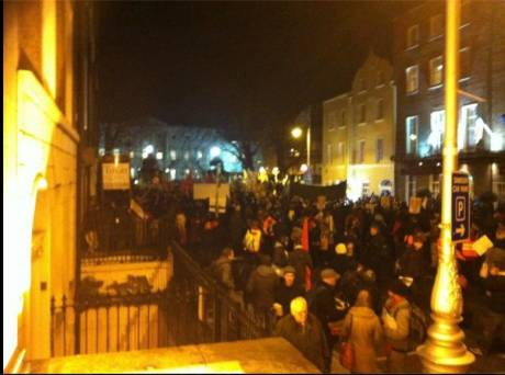 Protest outside the Dail on Budget 2012 night (Weds 5th Dec 2012)