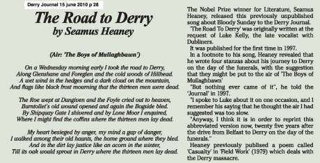 Half of Heaney's contemporary poem on Bloody Sunday - released 25 years later - click on the image to read it