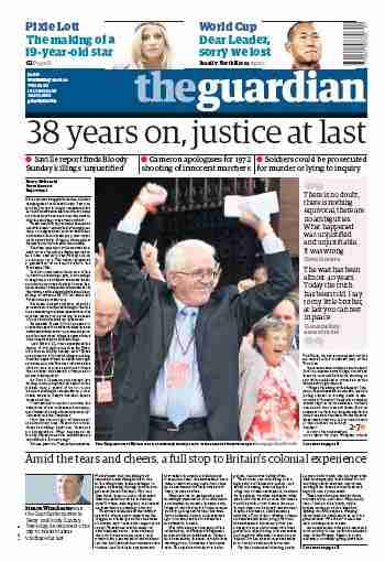 38 years on, Justice at last - Guardian front page