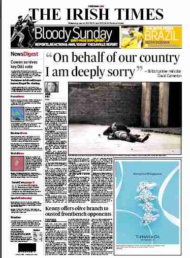 """On behalf of our country I am deeply sorry"" - David Cameron - Irish times front page"