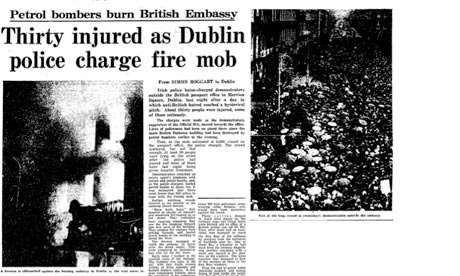 Thirty injured as Dublin police charge fire mob ( Burning of the British embassy in Dublin, Feb 2 1972) Guardian archive