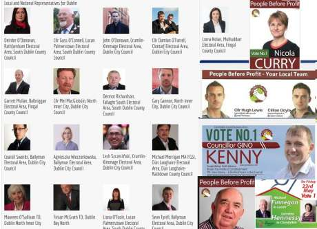 Sample of local election candidates from Independents, People Before Profit and Workers Party