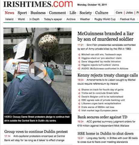 #OccupyDameStreet action is main news in Irish Times