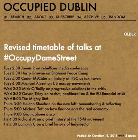 Revised timetable of talks at #OccupyDameStreet (DAY 5)