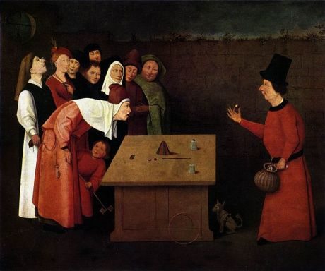 """The Conjurer,"" painted by Hieronymus Bosch."